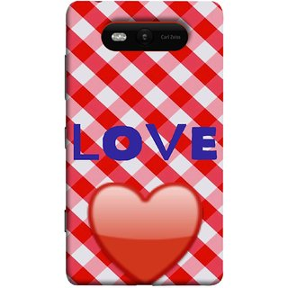 FUSON Designer Back Case Cover for Nokia Lumia 820 (Red Shiny Heart Against Red And White Checkered)