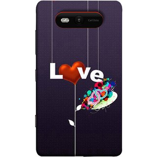 FUSON Designer Back Case Cover for Nokia Lumia 820 (Hearts Hanging Ropes Free Love Tree Multicolour)