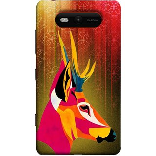 FUSON Designer Back Case Cover for Nokia Lumia 820 (Christmas Deer Origami Merry Abstract Reindeer)