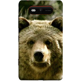 FUSON Designer Back Case Cover for Nokia Lumia 820 (Bhalu Looking At You Animal Forest Green Background)