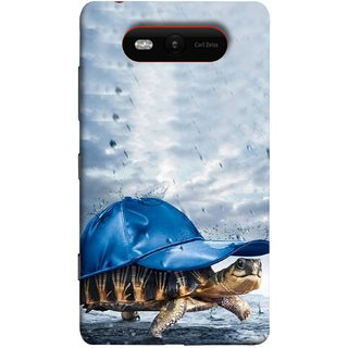 FUSON Designer Back Case Cover for Nokia Lumia 820 (Cute Tortoise Turtle Wearing A Party Hat Water Drops)