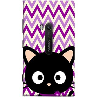 FUSON Designer Back Case Cover for Nokia Lumia 920 :: Micosoft Lumia 920 (Cat Mau Pillu Blackcat Purple Waves Triangle )
