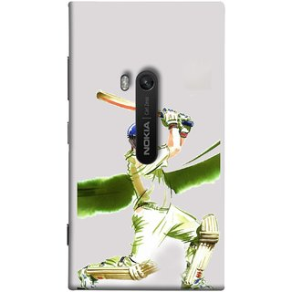 FUSON Designer Back Case Cover for Nokia Lumia 920 :: Micosoft Lumia 920 (Cricket Bat Ball Helmet Green Ground Batsman)