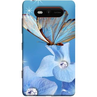 FUSON Designer Back Case Cover for Nokia Lumia 820 (In Center Glitter Diamonds Flowers Butterfly Nature)