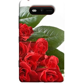 FUSON Designer Back Case Cover for Nokia Lumia 820 (Close Up Red Roses Chocolate Hearts For Valentines Day)