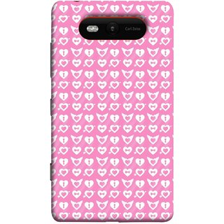 FUSON Designer Back Case Cover for Nokia Lumia 820 (Valentine Pink Metallic Cool Peace Sign Symbol Pillow)