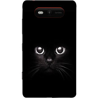 FUSON Designer Back Case Cover for Nokia Lumia 820 (Black Kitty Kitten Closeup Of A Long Haired Black Cats )