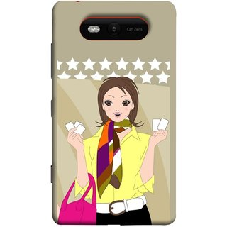 FUSON Designer Back Case Cover for Nokia Lumia 820 (Animated 3D Starts Pink Bag Jeans Pant Yellow Shirt )