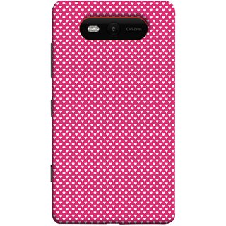 FUSON Designer Back Case Cover for Nokia Lumia 820 (Valentine Pink Metallic Hearts Cool Peace Sign Symbol)