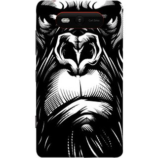 FUSON Designer Back Case Cover for Nokia Lumia 820 (Animal Background Open Ears Black Hairs Jungle Nose)