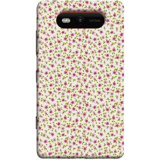 FUSON Designer Back Case Cover for Nokia Lumia 820 (Pink Lecien Fabric Pink Blue Flower Green Leaf Tiny )