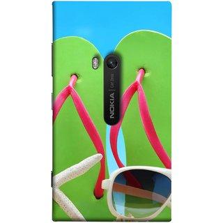 FUSON Designer Back Case Cover for Nokia Lumia 920 :: Micosoft Lumia 920 (Green Chappals Sand Starfish Sunny Day Sunshine)
