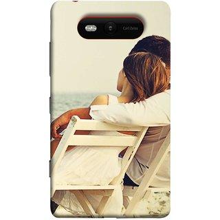 FUSON Designer Back Case Cover for Nokia Lumia 820 (Beautiful Husband Wife Lovers Valentines Sitting Sea Shore)