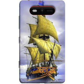 FUSON Designer Back Case Cover for Nokia Lumia 820 (Big Ship In Ocean Vintage Tall High)