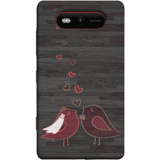 FUSON Designer Back Case Cover for Nokia Lumia 820 (Lovely Pair Of Cute Birds Kissing Hairband )