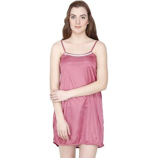 Aloof Pink Satin Baby Doll Dresses