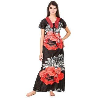 Aloof Women's Satin Nighty Floral Print Free Size