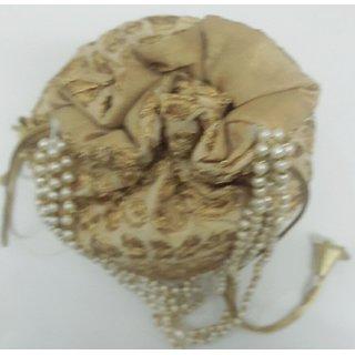 Golden Designer Embroidered Silk Potli Bag Pearl Handle Purse Wedding Womens Handbag With Drawstring