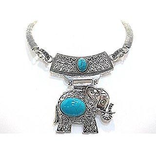 muccasacra Turquoise Stone Elephant Pendent choker
