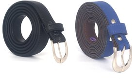 Fashno Combo Of Black And Blue Casual Leatherite Belt For Women (Pack of 2)