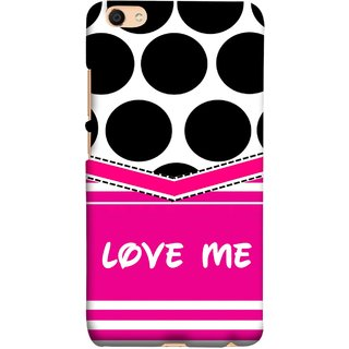 FUSON Designer Back Case Cover For Oppo F3 (Pink Design Paper Big Black Circles Bubbles )
