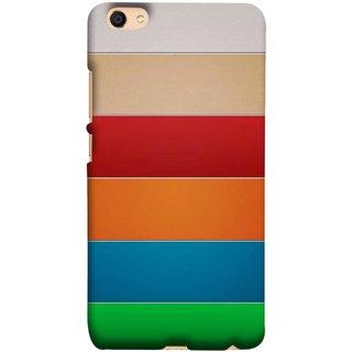 FUSON Designer Back Case Cover For Oppo F3 (Rainbow Colours Bright Bands Red Orange Blue)