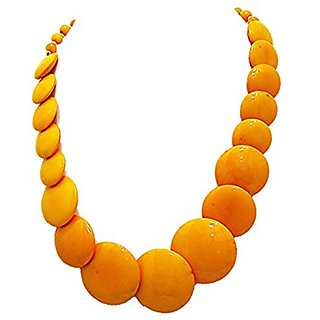 muccasacra Elegant Yellow Coin Shape Trendy Yellow Necklace