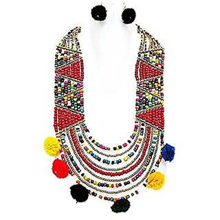 Multicolour layered Red Beads With Dangling handmade Pom Pom thread ball jewel set Length 11 Inches