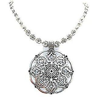 muccasacra Forever Designer Round Medallion Sterling Silver Necklace