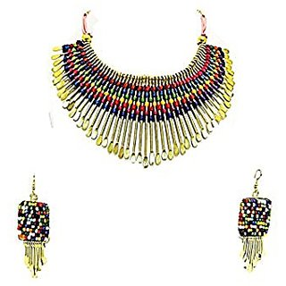 Muccasacra Funky Multicolour Br Spike Threaded Necklace With Trendy Earrings