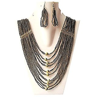 muccasacra Metallic Multi-layered Necklace with Trendy Earrings length - 13 inch