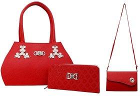 GRV Women Red Handbag with Wallet and Sidebag
