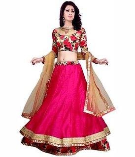 Dwarkesh fashion pink bangalore silk semi stitched lehenga choli (gulabo 1 )