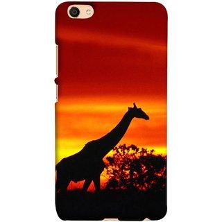 FUSON Designer Back Case Cover For Oppo F3 (Africa Sunset Giraffe Evening Wildlife Animals )