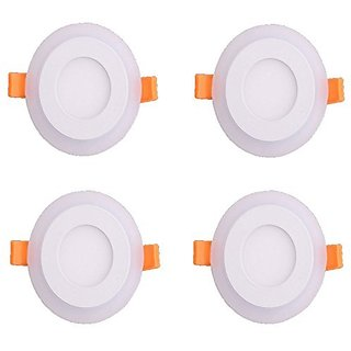 Galaxy 6 watt (3+3) LED Round Panel Light Ceiling POP Down Indoor Light LED 3D Effect Lighting (Double Color)White amp Blue pack of 4