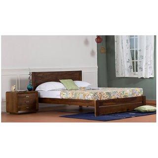 Vintej Home Solide Sheesham Wood  Teak Finish Queen Size Bed