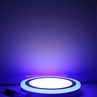 Galaxy 12 watt LED Round Panel Light Ceiling POP Down Indoor Light LED 3D Effect Lighting (Double Color) Blue amp White pack of 5