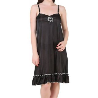 Aloof Women's Black Satin Babydoll Dress