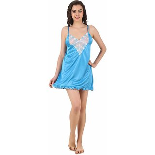 Aloof Blue Satin Baby Doll Dresses
