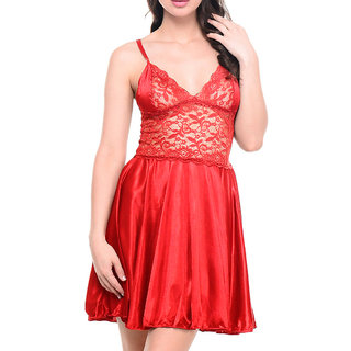 Aloof Red Satin Baby Doll Dresses