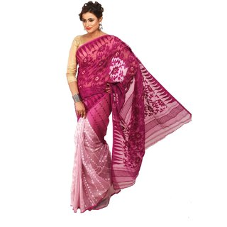 0695ee9da1d06 Buy LoomsVilla - Premium Soft Dhakai Jamdani Saree - White Purple ...