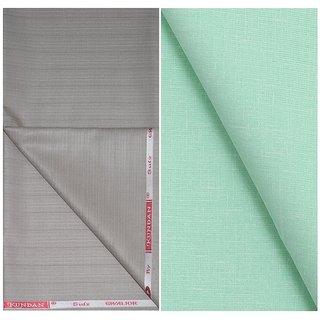 Kundan Sulz Gwalior Men's Executive Pure Cotton Light Green Color Linen Blended Shirt & Fancy Beige Colour Trouser Fabric Combo Set ( 1 Pant Shirt Piece for Men )