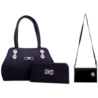 ad4d25d09fb7 Buy GRV Women Black Handbag with Wallet and Side bag Online   ₹799 from  ShopClues