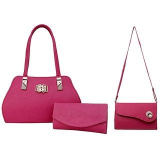 d9e86e0994b5 Buy GRV Women Pink Handbag with Wallet and Sidebag Online   ₹1999 ...