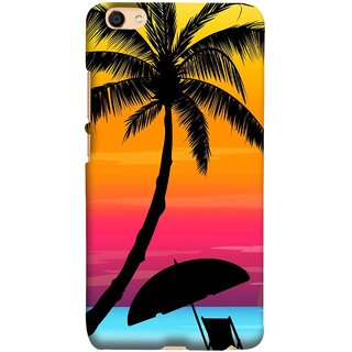 FUSON Designer Back Case Cover For Oppo F3 (Colorful Island Sunset Painting Canvas Wallpapers )