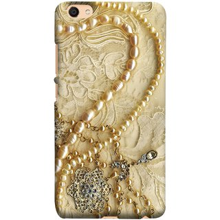 FUSON Designer Back Case Cover For Oppo F3 (Perals Diamonds Pendent Gold Hand Embroidery Stitches)