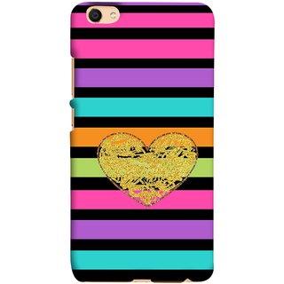 FUSON Designer Back Case Cover For Oppo F3 Plus (Sprinkle Gold Glitter Heart Flag Hearts Valentine)