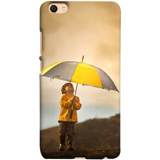 FUSON Designer Back Case Cover For Oppo F3 (Adorable Little Boy Holding Toy Friend And Umbrella)