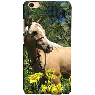 FUSON Designer Back Case Cover For Oppo F3 Plus (Pony Field Coffee Colour Horse Strong Walking )