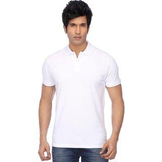 KETEX Mens White Polo Collar Tshirt